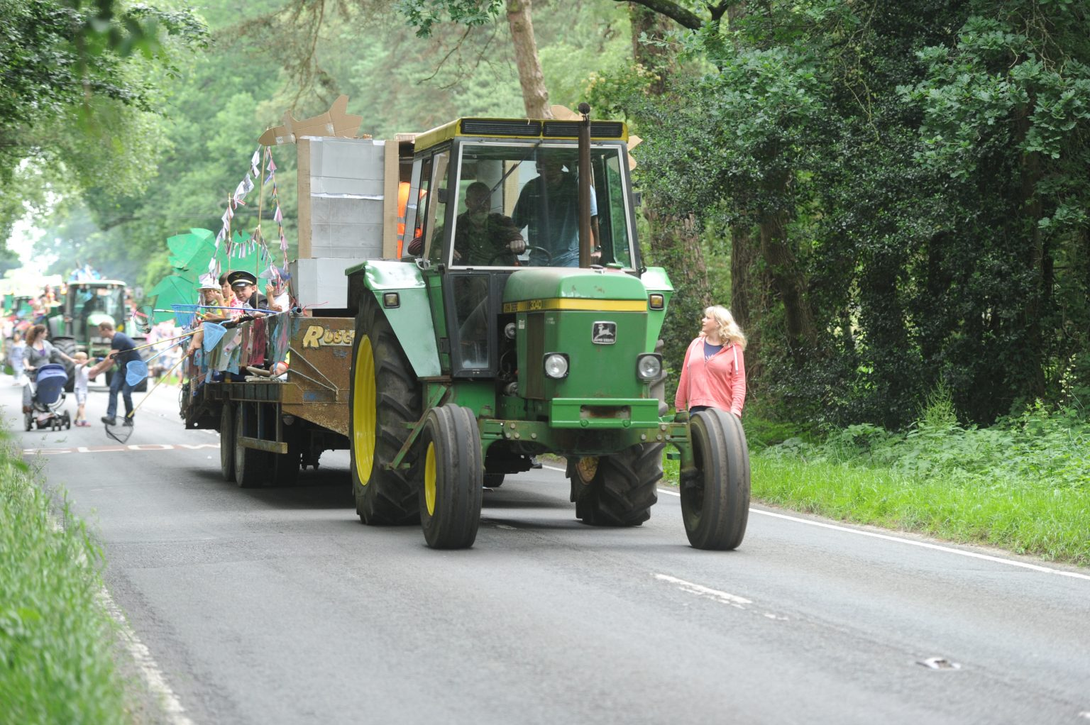 tractor drawn float in the Copythorne carnival